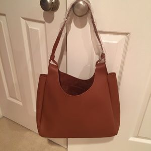 Neiman Marcus Faux Leather Brown Cognac Bag Tote